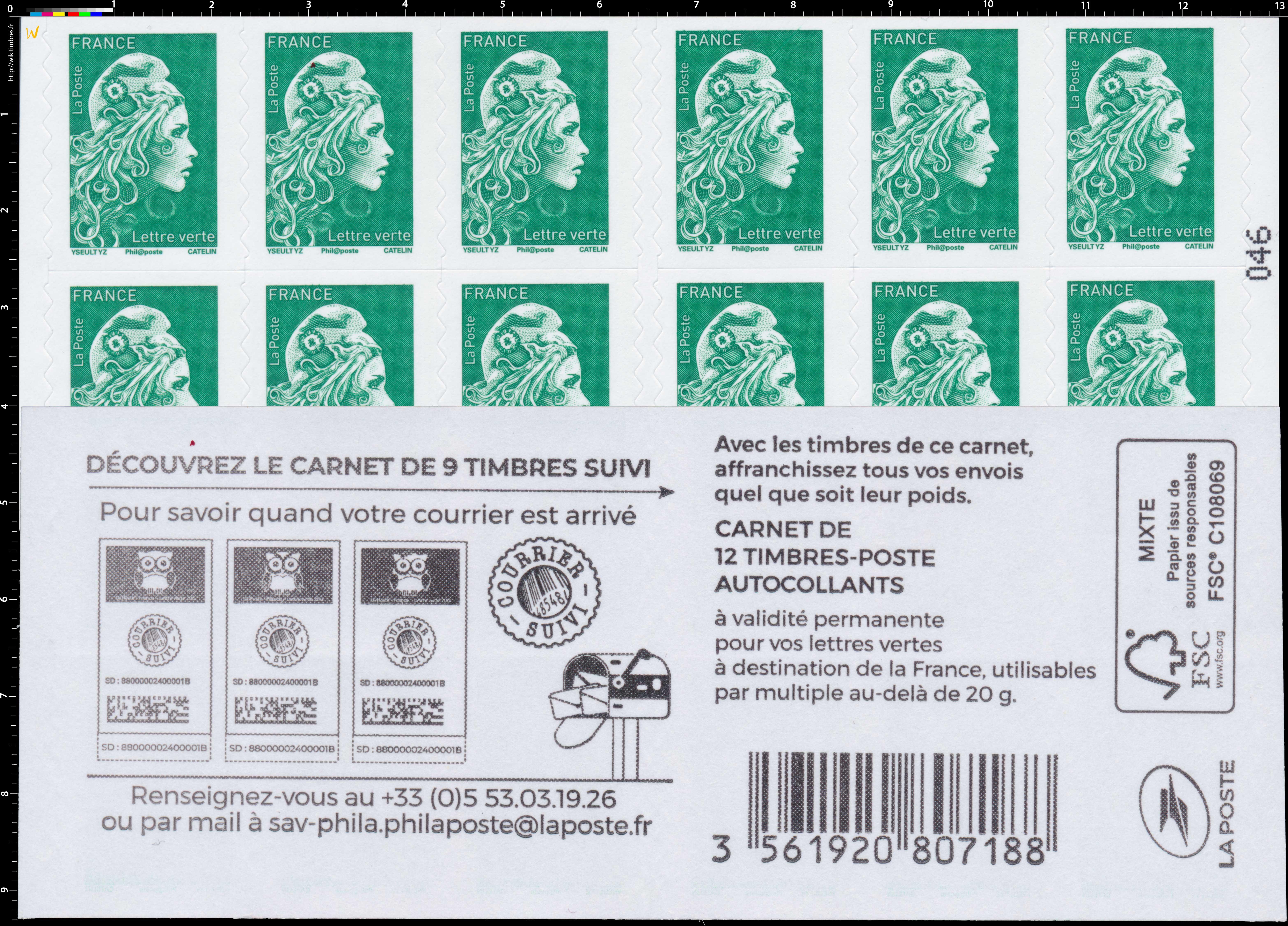 2020 Découvrez le carnet de 9 timbres suivi