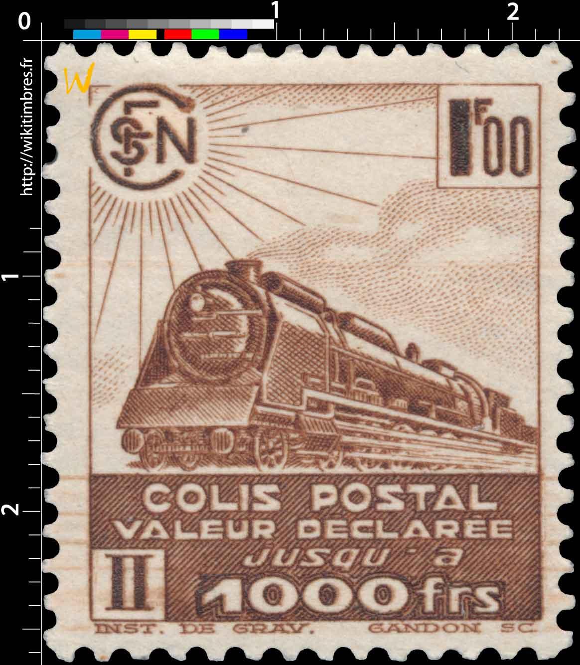 COLIS POSTAL valeur déclarée jusqu'à 1000 frs