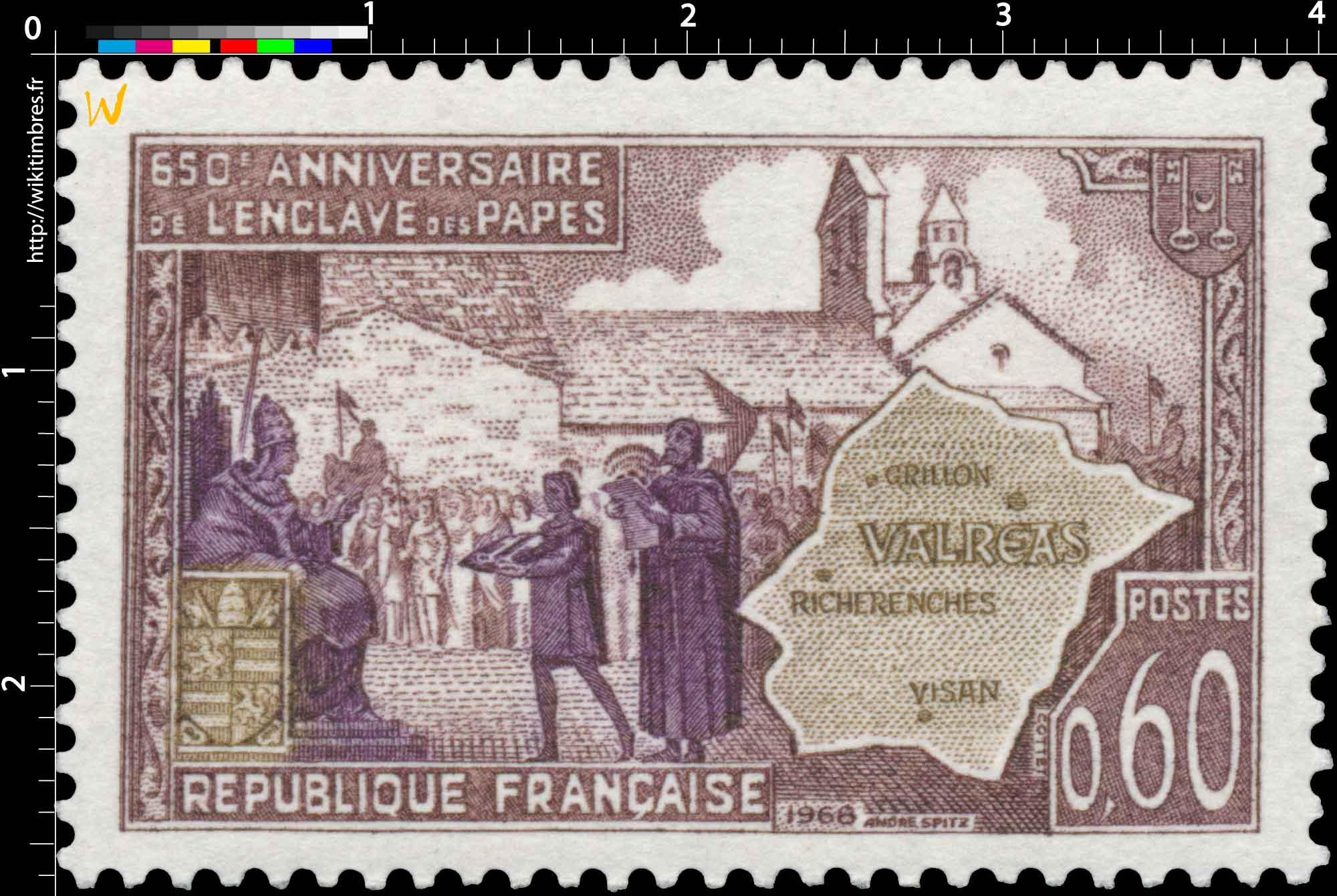 1968 650e ANNIVERSAIRE DE L'ENCLAVE DES PAPES VALRÉAS