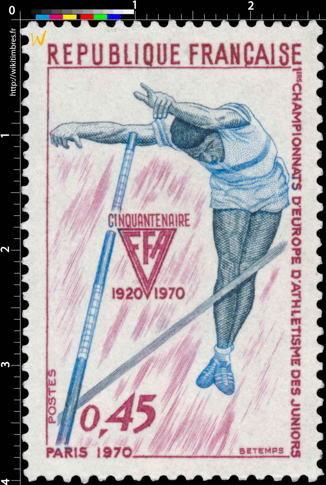 1ERS CHAMPIONNATS D'EUROPE D'ATHLÉTISME DES JUNIORS PARIS 1970 CINQUANTENAIRE FFA 1920-1970