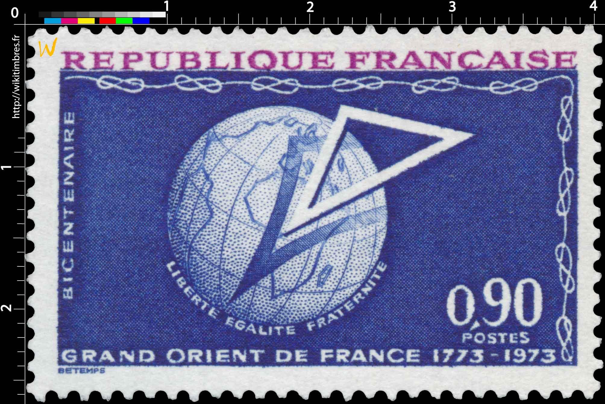 BICENTENAIRE GRAND ORIENT DE FRANCE 1773-1973 LIBERTÉ EGALITE FRATERNITÉ