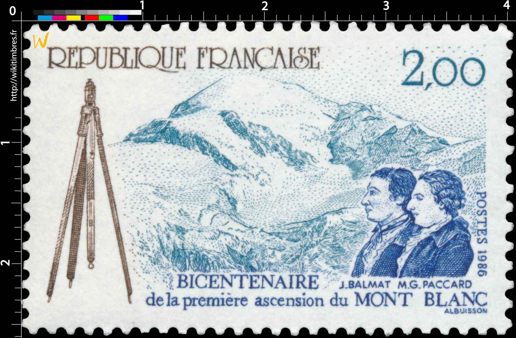 1986 BICENTENAIRE de la première ascension du MONT BLANC J. BALMAT M. G. PACCARD