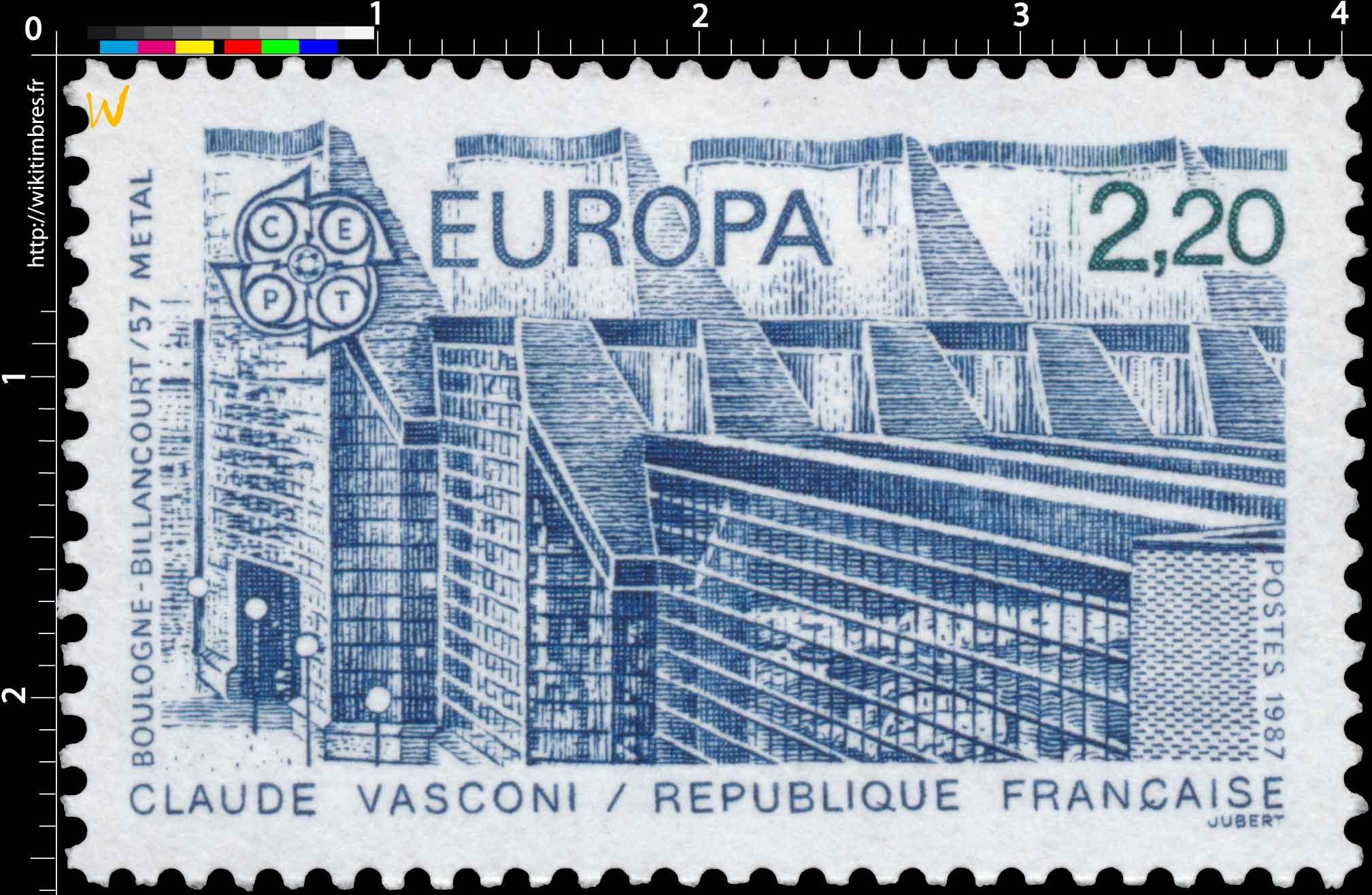 1987 EUROPA CEPT CLAUDE VASCONI BOULOGNE-BILLANCOURT/57 MÉTAL