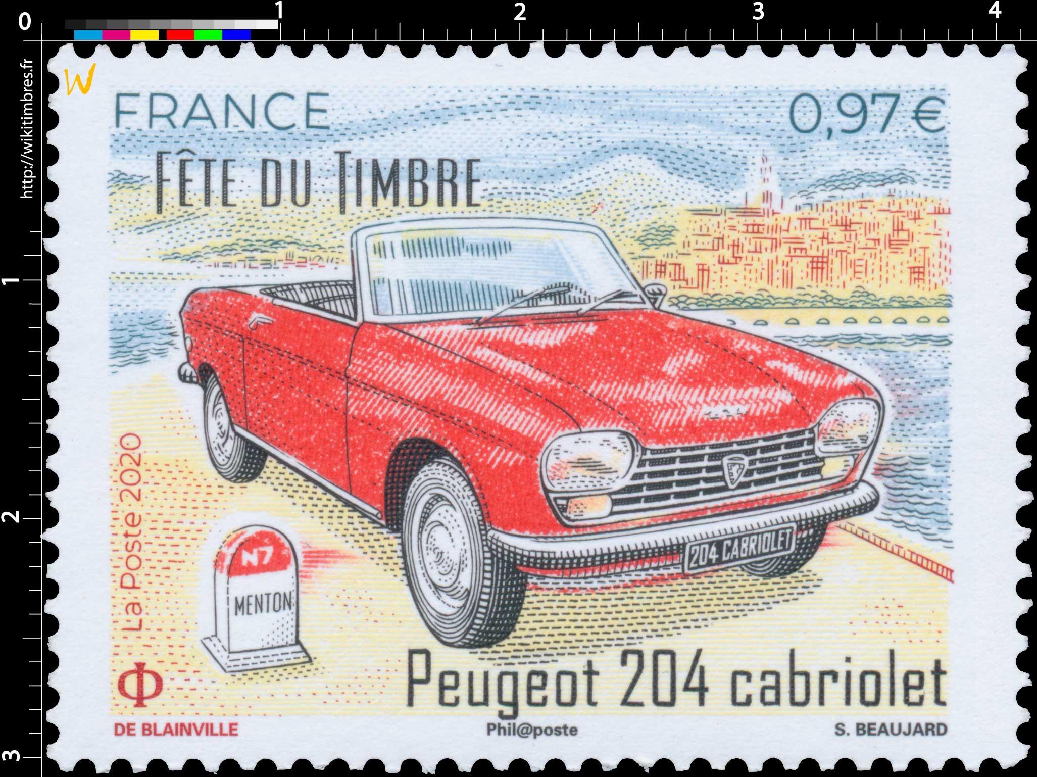 2020 Fête du timbre - Peugeot 204 cabriolet