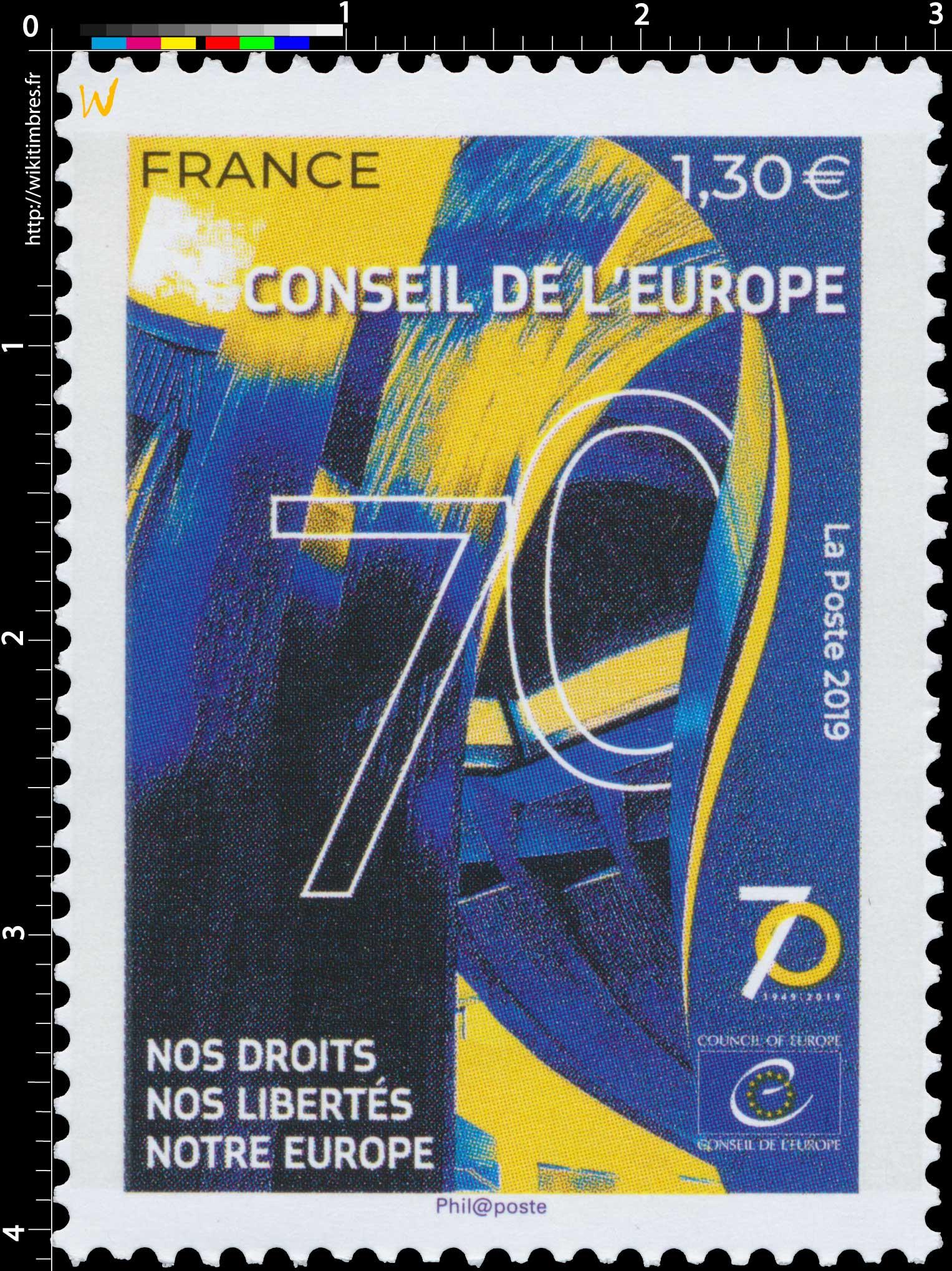 2019 Conseil de l'Europe  70 ans du Conseil de l'Europe Nos droits, nos libertés, notre Europe